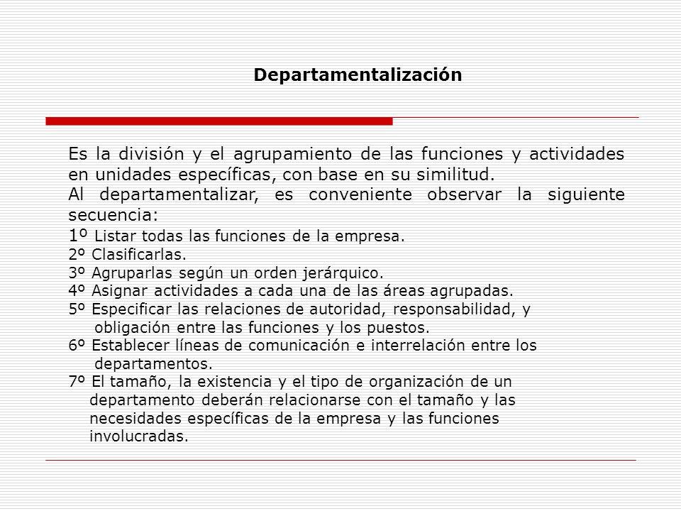 Es la división y el agrupamiento de las funciones y actividades en unidades específicas, con base en su similitud. Al departamentalizar, es convenient
