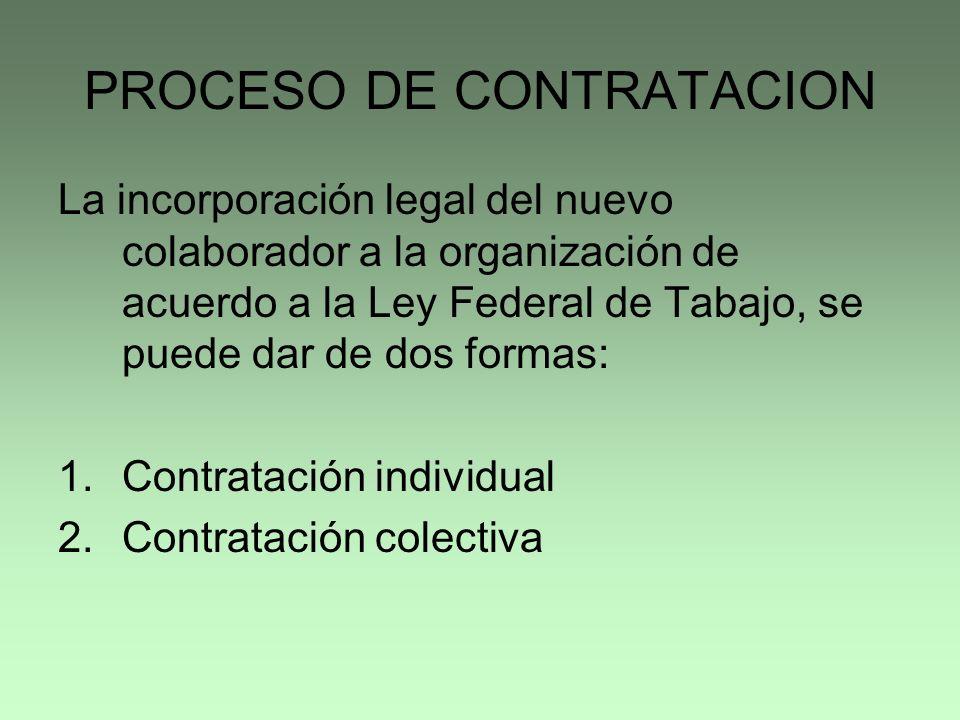 PROCESO DE CONTRATACION La incorporación legal del nuevo colaborador a la organización de acuerdo a la Ley Federal de Tabajo, se puede dar de dos form