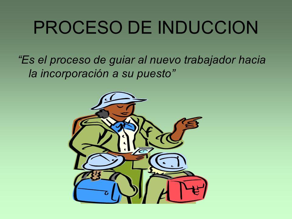PROCESO DE INDUCCION Es el proceso de guiar al nuevo trabajador hacia la incorporación a su puesto