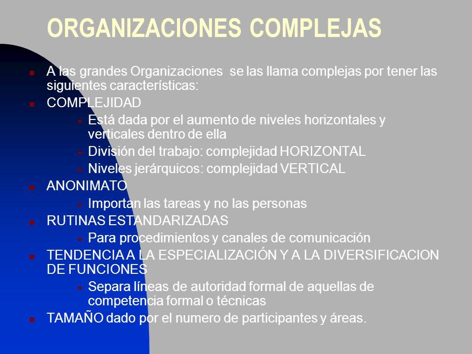 ORGANIZACIONES COMPLEJAS A las grandes Organizaciones se las llama complejas por tener las siguientes características: COMPLEJIDAD Está dada por el au