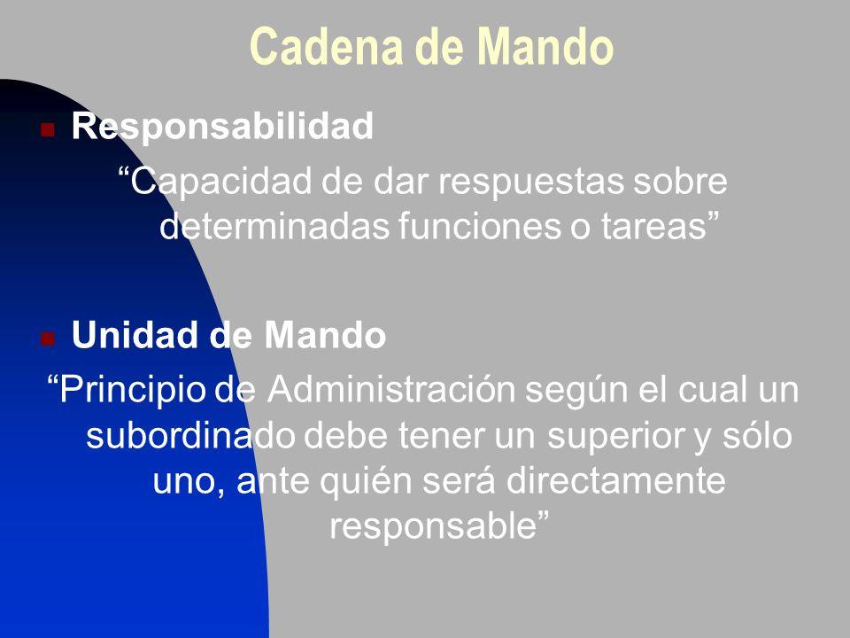 Responsabilidad Capacidad de dar respuestas sobre determinadas funciones o tareas Unidad de Mando Principio de Administración según el cual un subordi
