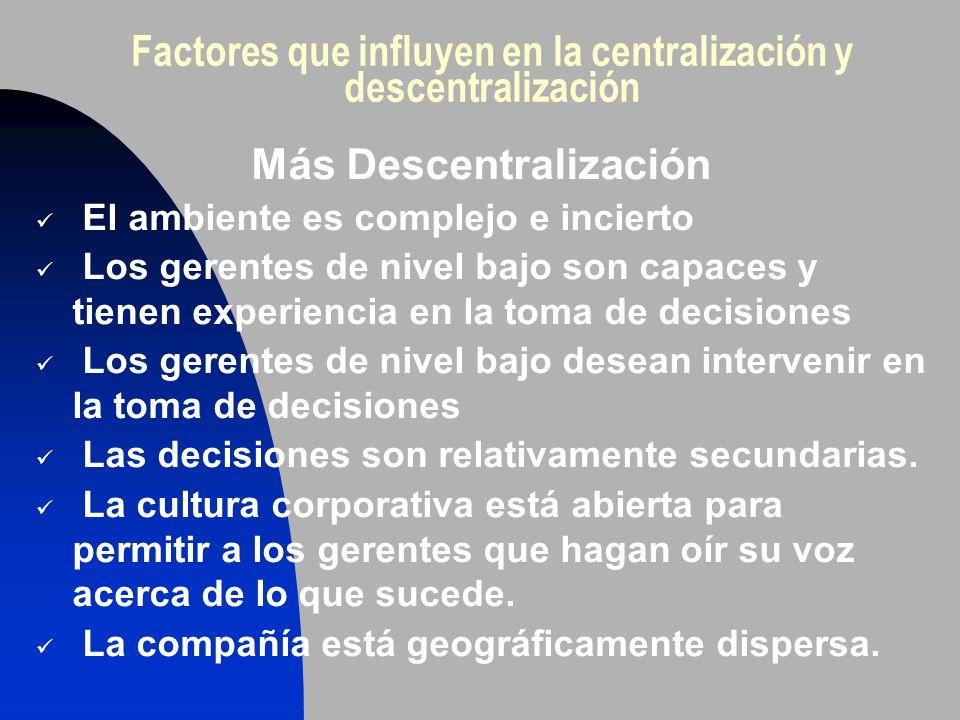 Factores que influyen en la centralización y descentralización Más Descentralización El ambiente es complejo e incierto Los gerentes de nivel bajo son