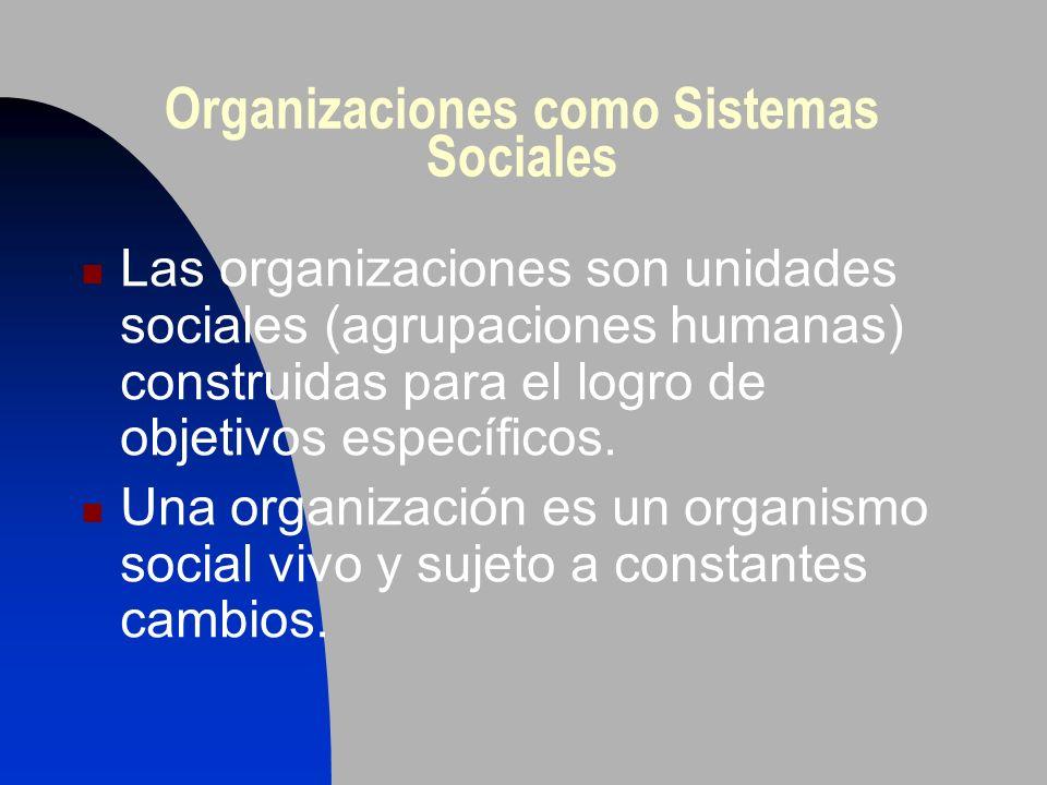 Organizaciones como Sistemas Sociales Las organizaciones son unidades sociales (agrupaciones humanas) construidas para el logro de objetivos específic