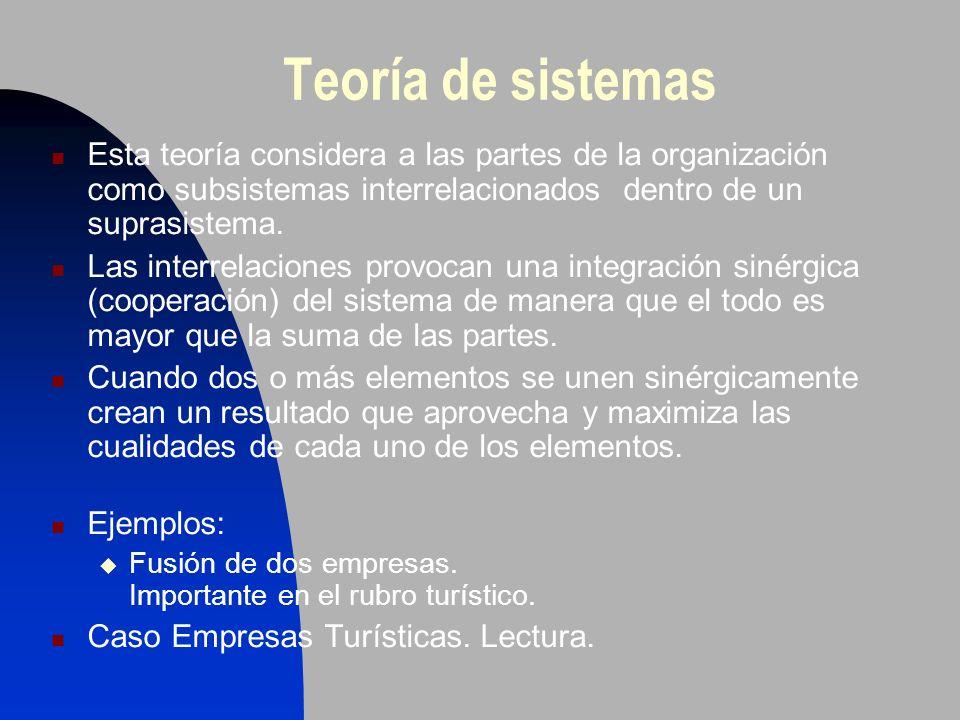 Teoría de sistemas Esta teoría considera a las partes de la organización como subsistemas interrelacionados dentro de un suprasistema. Las interrelaci