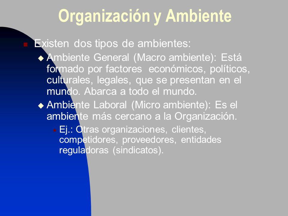 Organización y Ambiente Existen dos tipos de ambientes: Ambiente General (Macro ambiente): Está formado por factores económicos, políticos, culturales