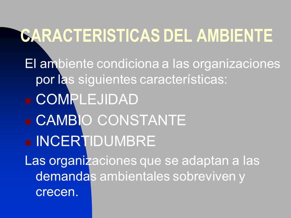 CARACTERISTICAS DEL AMBIENTE El ambiente condiciona a las organizaciones por las siguientes características: COMPLEJIDAD CAMBIO CONSTANTE INCERTIDUMBR