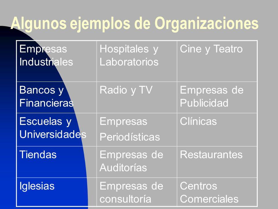 Algunos ejemplos de Organizaciones Empresas Industriales Hospitales y Laboratorios Cine y Teatro Bancos y Financieras Radio y TVEmpresas de Publicidad