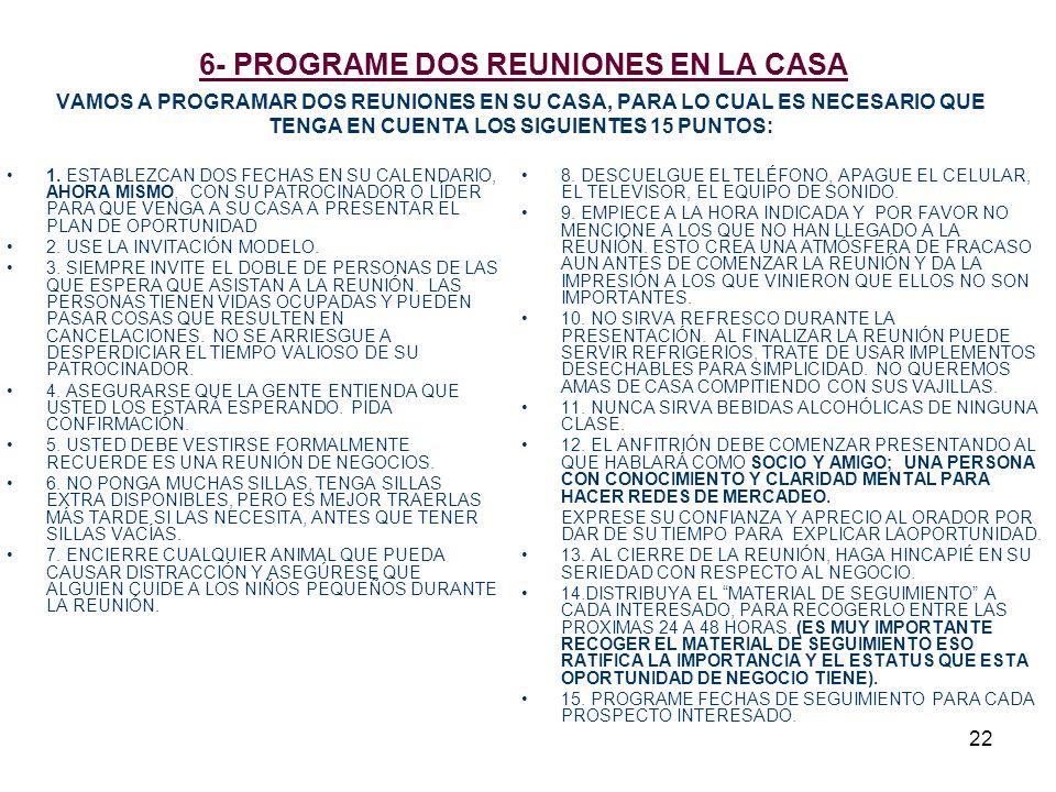 22 6- PROGRAME DOS REUNIONES EN LA CASA VAMOS A PROGRAMAR DOS REUNIONES EN SU CASA, PARA LO CUAL ES NECESARIO QUE TENGA EN CUENTA LOS SIGUIENTES 15 PU