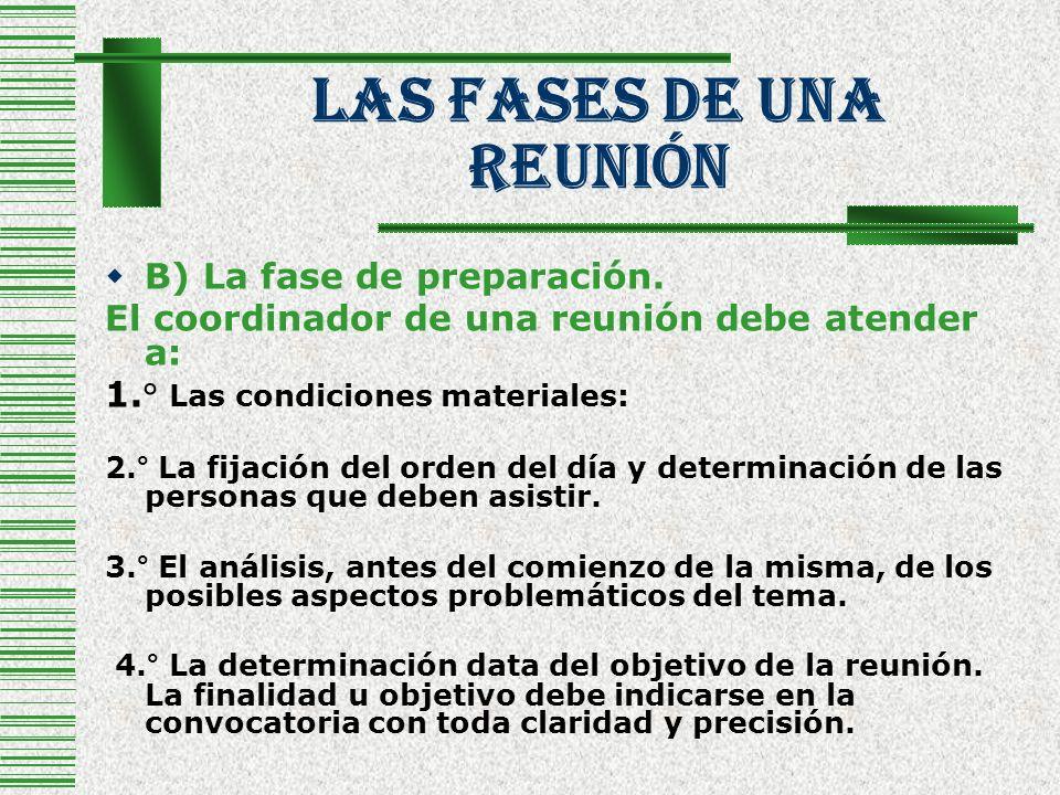 Las Fases De Una Reunión B) La fase de preparación. El coordinador de una reunión debe atender a: 1.° Las condiciones materiales: 2.° La fijación del