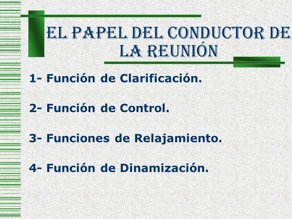 El Papel Del Conductor De La Reunión 1- Función de Clarificación. 2- Función de Control. 3- Funciones de Relajamiento. 4- Función de Dinamización.