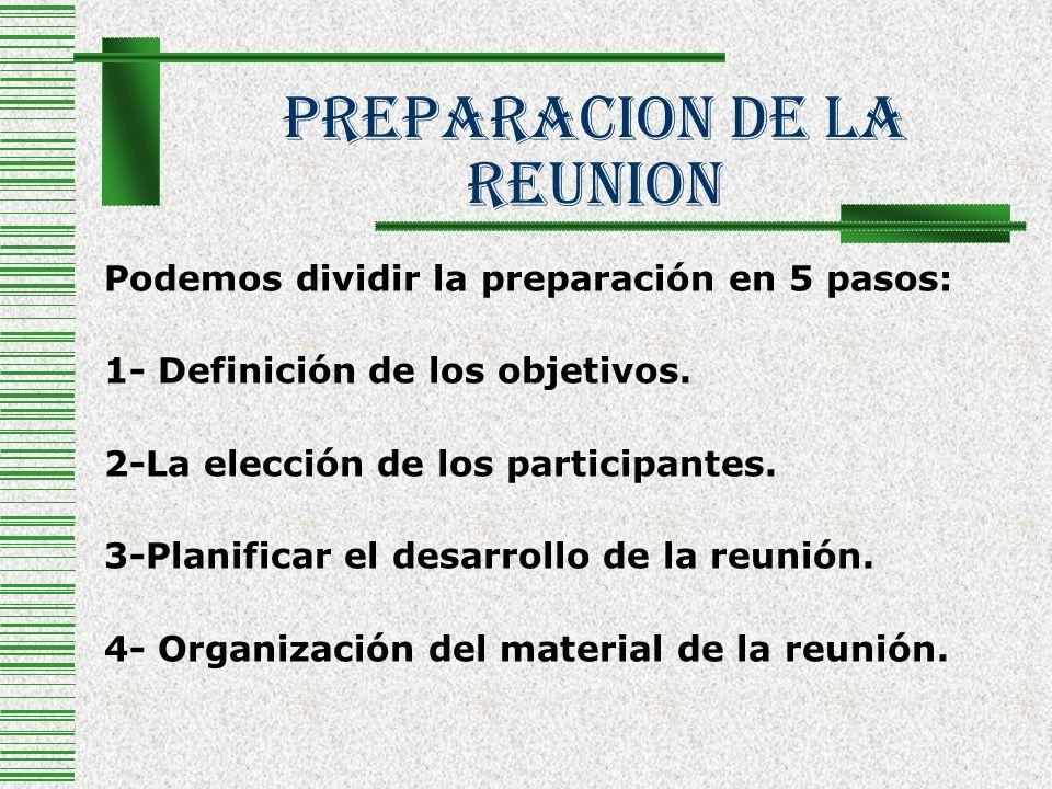 PREPARACION De La REUNION Podemos dividir la preparación en 5 pasos: 1- Definición de los objetivos. 2-La elección de los participantes. 3-Planificar