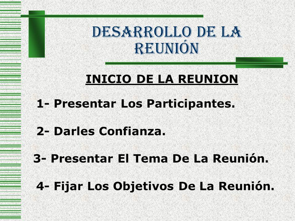 Desarrollo De La Reunión INICIO DE LA REUNION 1- Presentar Los Participantes. 2- Darles Confianza. 3- Presentar El Tema De La Reunión. 4- Fijar Los Ob