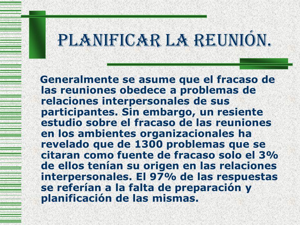 Planificar La Reunión. Generalmente se asume que el fracaso de las reuniones obedece a problemas de relaciones interpersonales de sus participantes. S