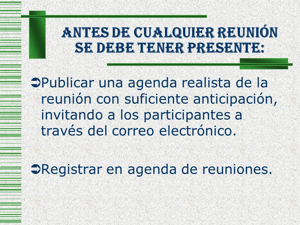 Antes De Cualquier Reunión Se Debe Tener Presente: Publicar una agenda realista de la reunión con suficiente anticipación, invitando a los participant