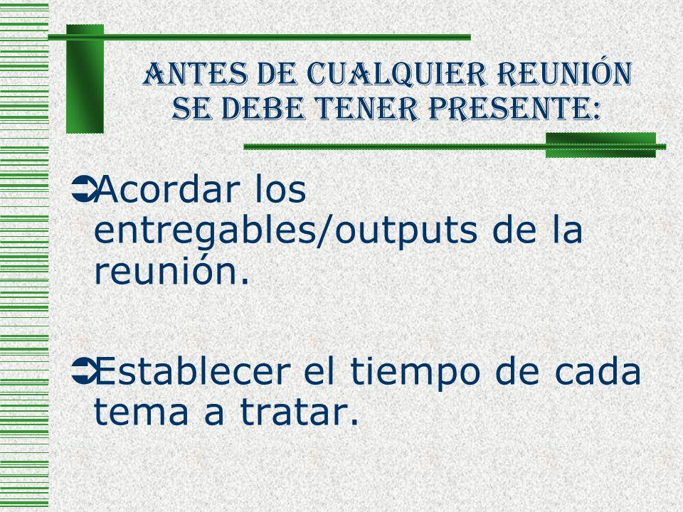 Antes De Cualquier Reunión Se Debe Tener Presente: Acordar los entregables/outputs de la reunión. Establecer el tiempo de cada tema a tratar.