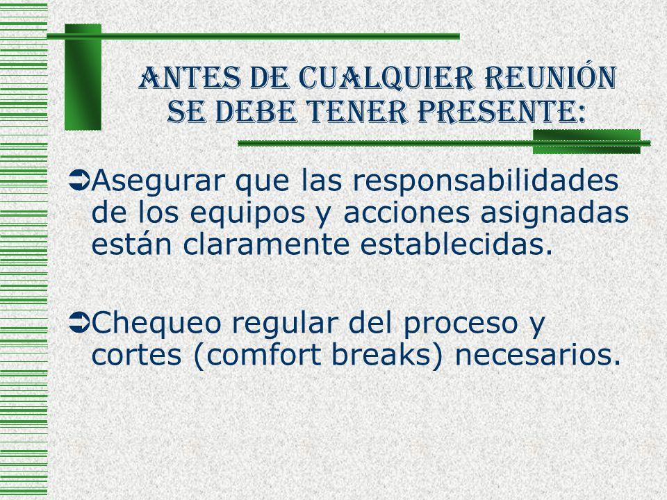 Antes De Cualquier Reunión Se Debe Tener Presente: Asegurar que las responsabilidades de los equipos y acciones asignadas están claramente establecida
