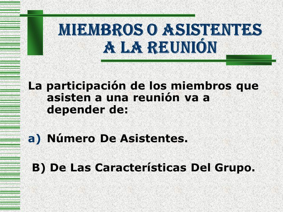 Miembros O Asistentes a La Reunión La participación de los miembros que asisten a una reunión va a depender de: a)Número De Asistentes. B) De Las Cara