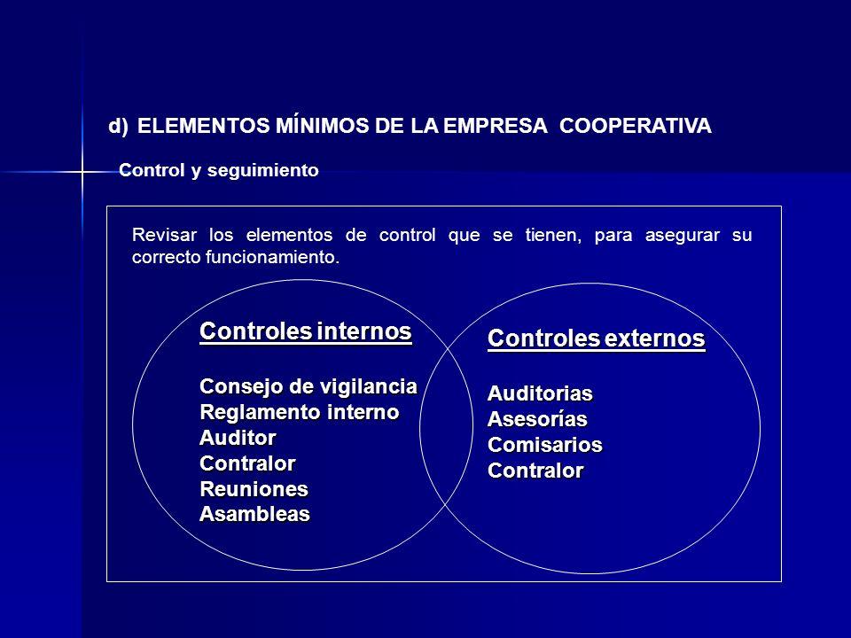 d) ELEMENTOS MÍNIMOS DE LA EMPRESA COOPERATIVA Control y seguimiento Revisar los elementos de control que se tienen, para asegurar su correcto funcion
