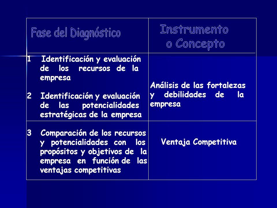 1 Identificación y evaluación de los recursos de la empresa 2Identificación y evaluación de las potencialidades estratégicas de la empresa 3Comparació