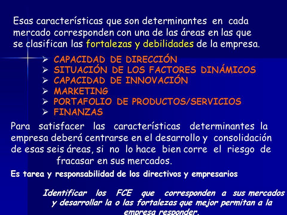 Esas características que son determinantes en cada mercado corresponden con una de las áreas en las que se clasifican las fortalezas y debilidades de