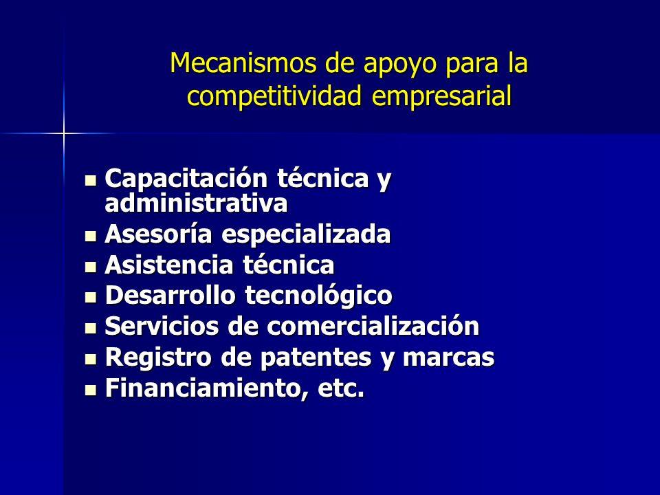 Mecanismos de apoyo para la competitividad empresarial Capacitación técnica y administrativa Capacitación técnica y administrativa Asesoría especializ