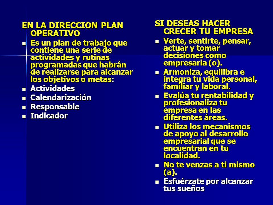 EN LA DIRECCION PLAN OPERATIVO Es un plan de trabajo que contiene una serie de actividades y rutinas programadas que habrán de realizarse para alcanza