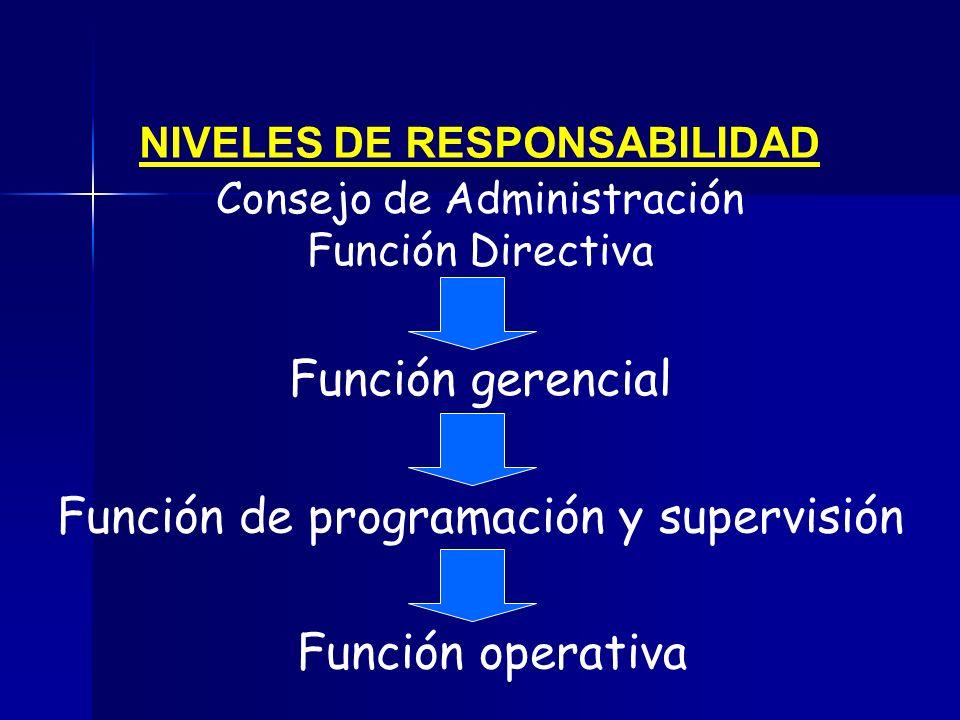 NIVELES DE RESPONSABILIDAD Consejo de Administración Función Directiva Función de programación y supervisión Función operativa Función gerencial