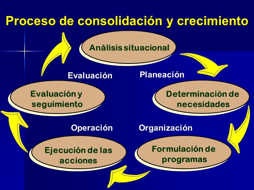Evaluación y seguimiento Análisis situacional Determinación de necesidades Formulación de programas Ejecución de las acciones Proceso de consolidación