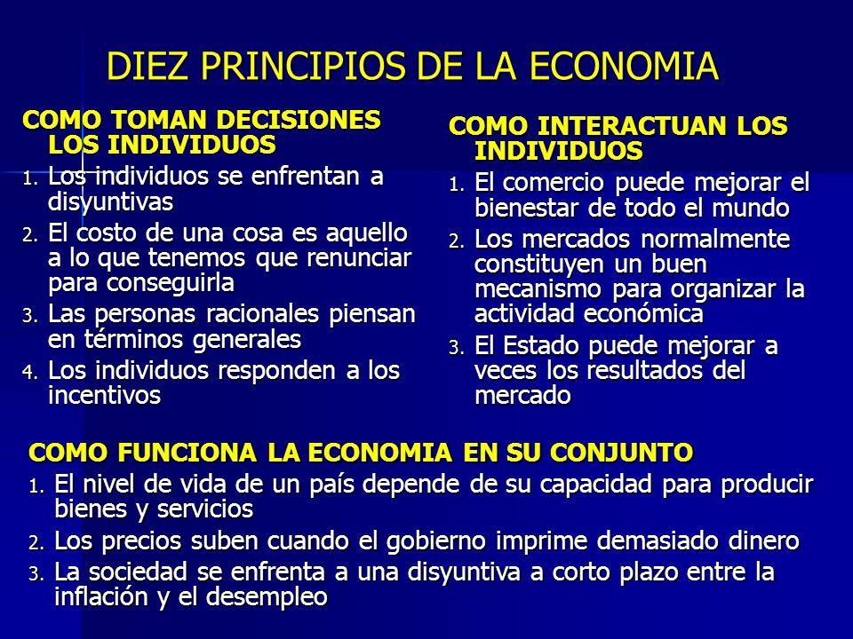 DIEZ PRINCIPIOS DE LA ECONOMIA COMO TOMAN DECISIONES LOS INDIVIDUOS 1. Los individuos se enfrentan a disyuntivas 2. El costo de una cosa es aquello a