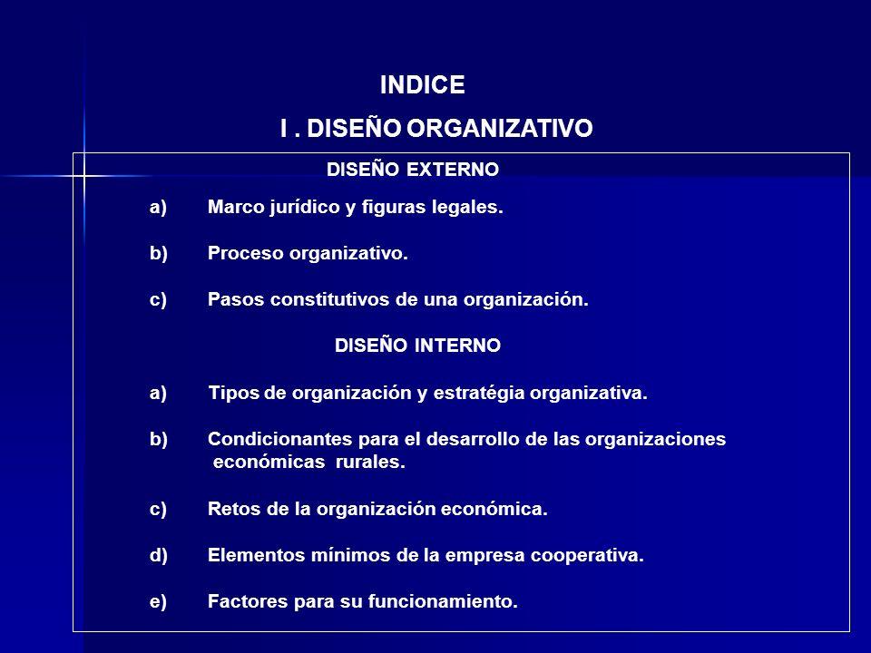 INDICE a)Marco jurídico y figuras legales. b)Proceso organizativo. c)Pasos constitutivos de una organización. DISEÑO INTERNO a)Tipos de organización y