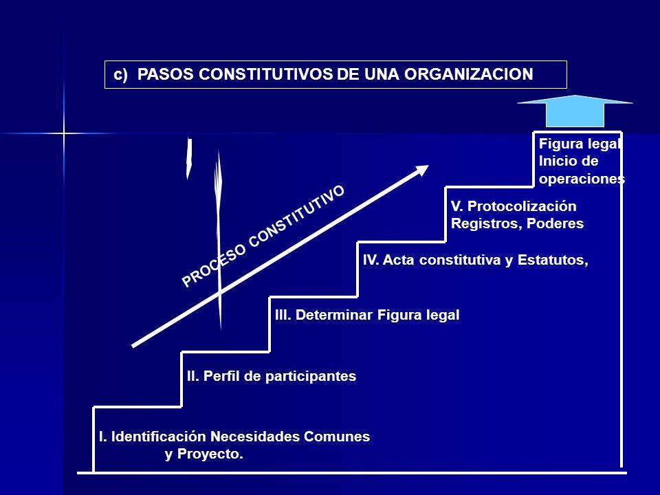 PROCESO CONSTITUTIVO c) PASOS CONSTITUTIVOS DE UNA ORGANIZACION I. Identificación Necesidades Comunes y Proyecto. II. Perfil de participantes III. Det