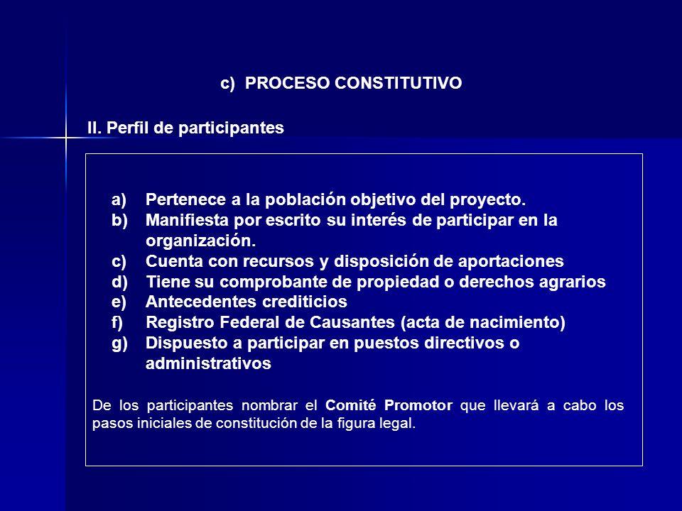 II. Perfil de participantes c) PROCESO CONSTITUTIVO a)Pertenece a la población objetivo del proyecto. b)Manifiesta por escrito su interés de participa