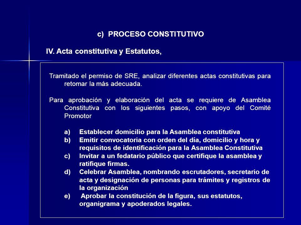 c) PROCESO CONSTITUTIVO IV. Acta constitutiva y Estatutos, Tramitado el permiso de SRE, analizar diferentes actas constitutivas para retomar la más ad