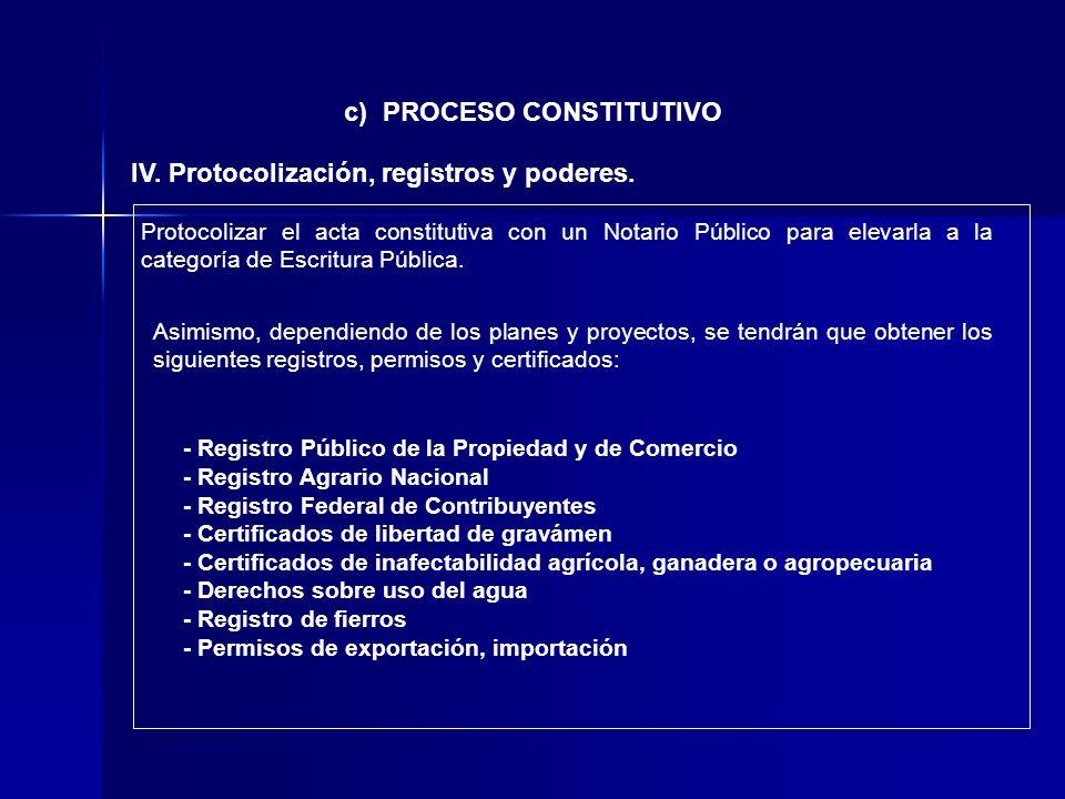 c) PROCESO CONSTITUTIVO IV. Protocolización, registros y poderes. Protocolizar el acta constitutiva con un Notario Público para elevarla a la categorí