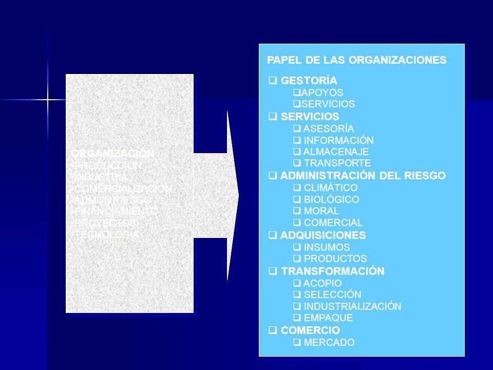 GESTORÍA APOYOS SERVICIOS ASESORÍA INFORMACIÓN ALMACENAJE TRANSPORTE ADMINISTRACIÓN DEL RIESGO CLIMÁTICO BIOLÓGICO MORAL COMERCIAL ADQUISICIONES INSUM