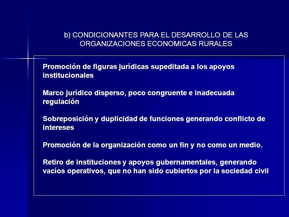 Promoción de figuras jurídicas supeditada a los apoyos institucionales Marco jurídico disperso, poco congruente e inadecuada regulación Sobreposición