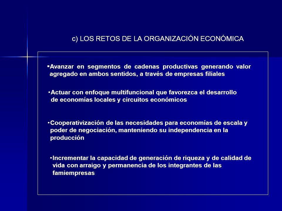 c) LOS RETOS DE LA ORGANIZACIÓN ECONÓMICA Avanzar en segmentos de cadenas productivas generando valor agregado en ambos sentidos, a través de empresas