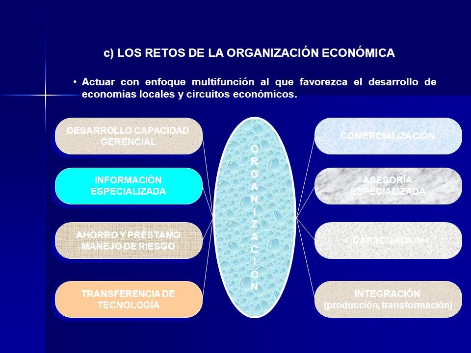 Actuar con enfoque multifunción al que favorezca el desarrollo de economías locales y circuitos económicos. c) LOS RETOS DE LA ORGANIZACIÓN ECONÓMICA