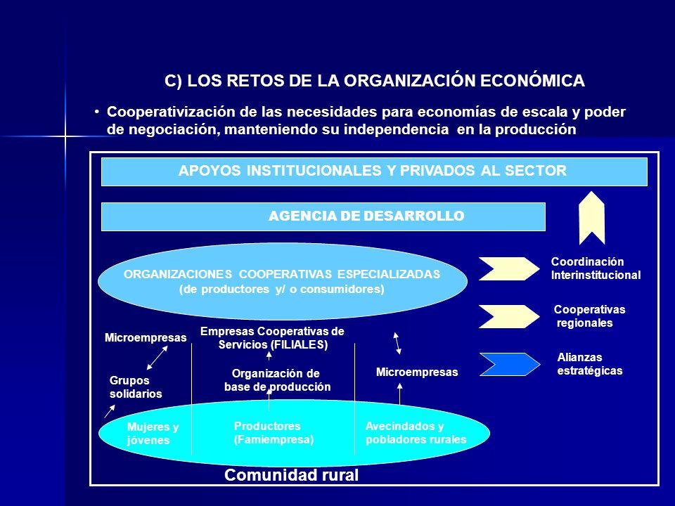 Cooperativización de las necesidades para economías de escala y poder de negociación, manteniendo su independencia en la producción C) LOS RETOS DE LA