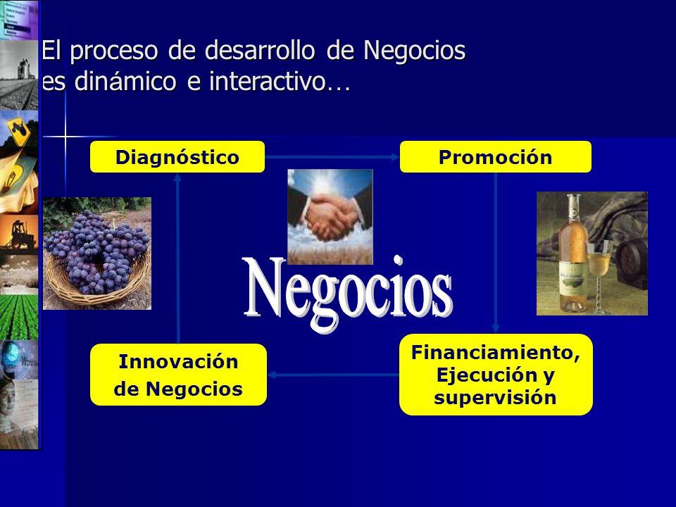 El proceso de desarrollo de Negocios es din á mico e interactivo … Financiamiento, Ejecución y supervisión PromociónDiagnóstico Innovación de Negocios
