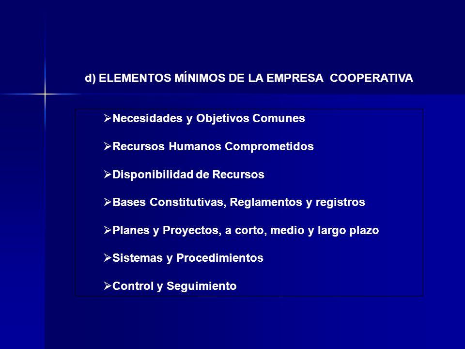 d) ELEMENTOS MÍNIMOS DE LA EMPRESA COOPERATIVA Necesidades y Objetivos Comunes Recursos Humanos Comprometidos Disponibilidad de Recursos Bases Constit
