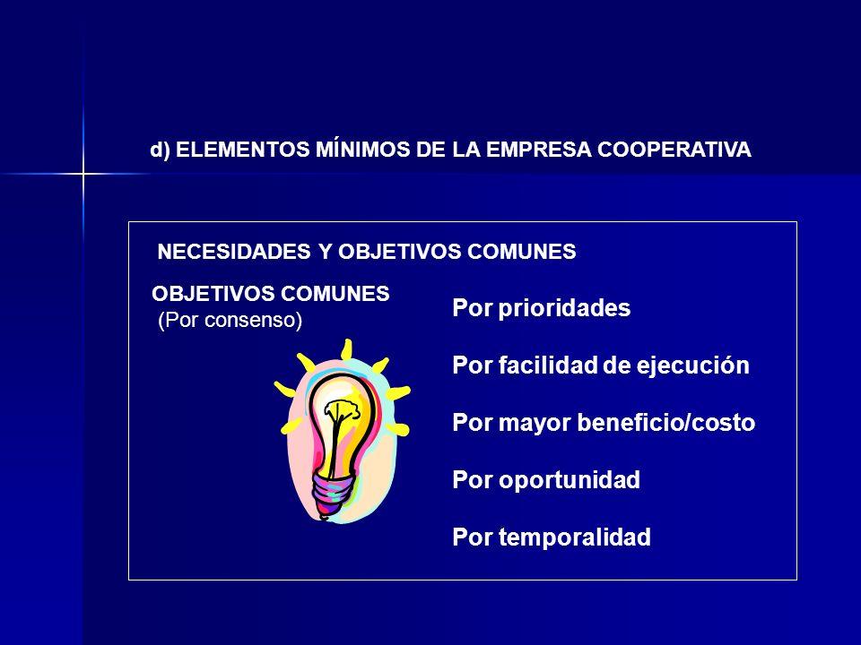 NECESIDADES Y OBJETIVOS COMUNES OBJETIVOS COMUNES (Por consenso) Por prioridades Por facilidad de ejecución Por mayor beneficio/costo Por oportunidad