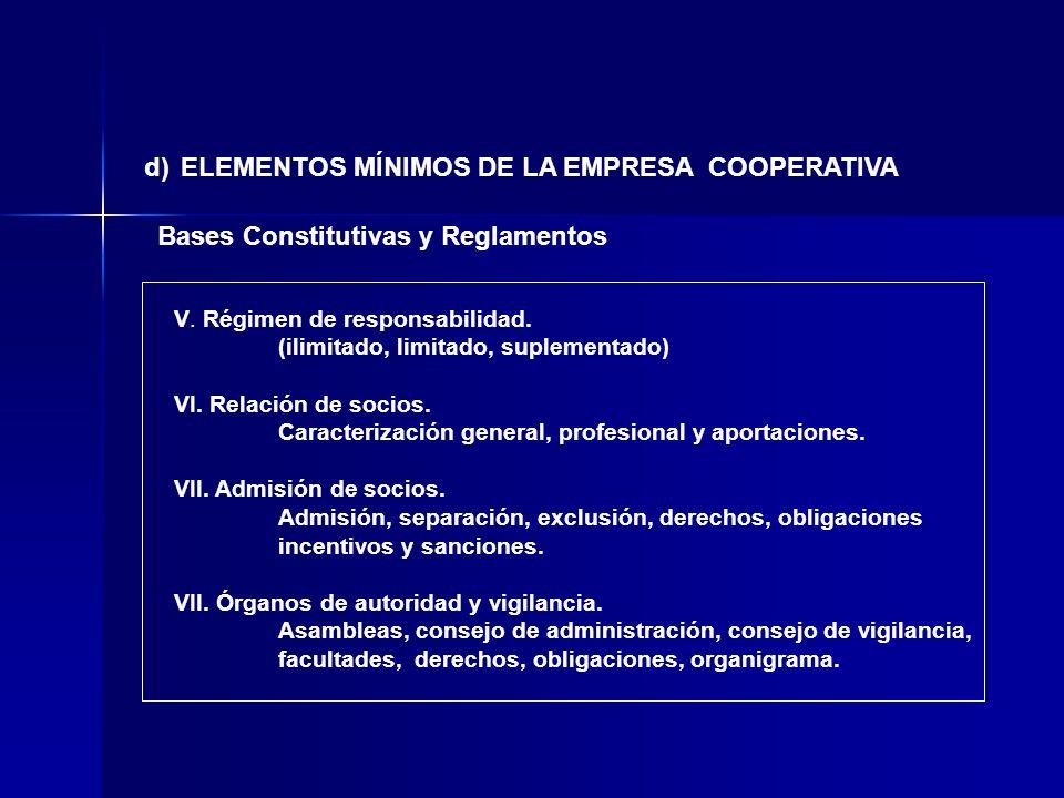 d) ELEMENTOS MÍNIMOS DE LA EMPRESA COOPERATIVA Bases Constitutivas y Reglamentos V. Régimen de responsabilidad. (ilimitado, limitado, suplementado) VI