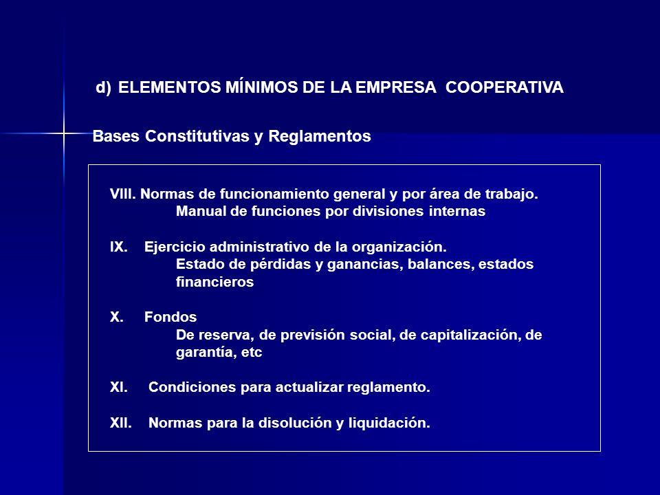 d) ELEMENTOS MÍNIMOS DE LA EMPRESA COOPERATIVA Bases Constitutivas y Reglamentos VIII. Normas de funcionamiento general y por área de trabajo. Manual