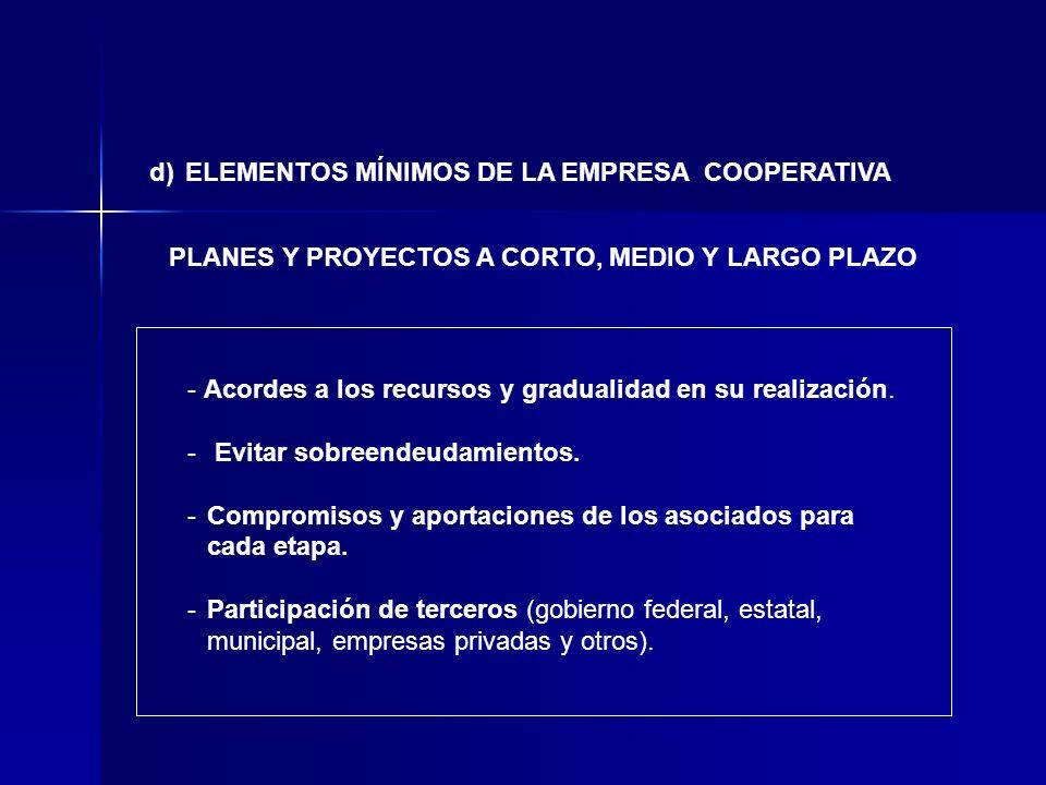 d) ELEMENTOS MÍNIMOS DE LA EMPRESA COOPERATIVA PLANES Y PROYECTOS A CORTO, MEDIO Y LARGO PLAZO - Acordes a los recursos y gradualidad en su realizació