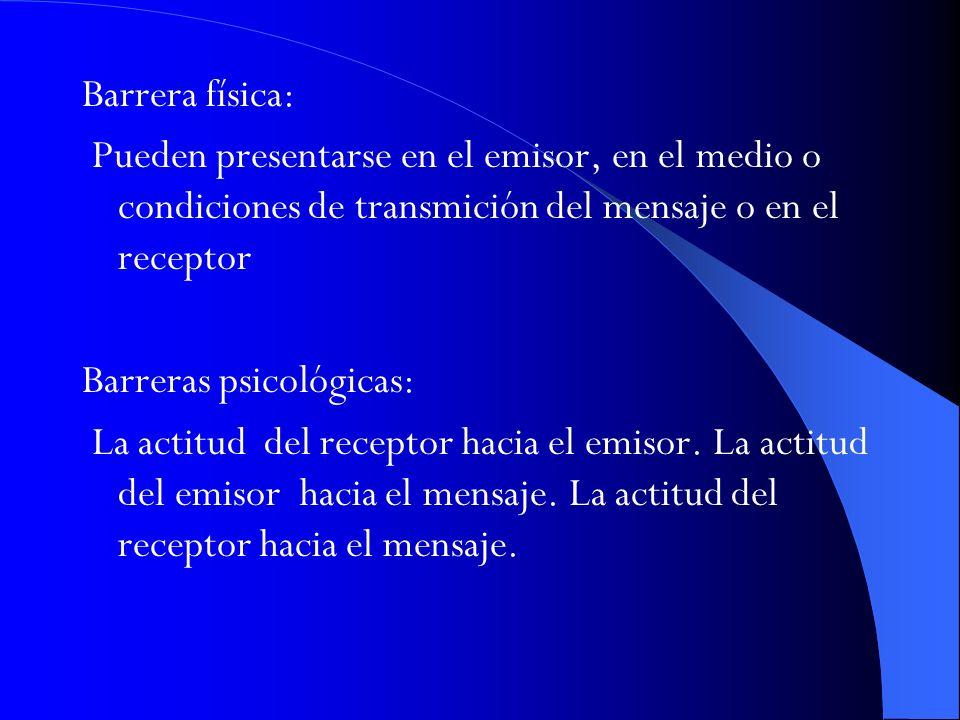 Barrera física: Pueden presentarse en el emisor, en el medio o condiciones de transmición del mensaje o en el receptor Barreras psicológicas: La actit