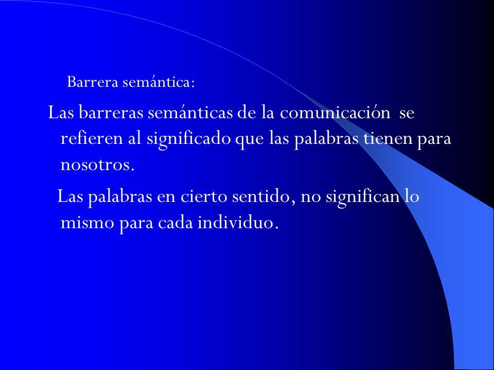Barrera semántica: Las barreras semánticas de la comunicación se refieren al significado que las palabras tienen para nosotros. Las palabras en cierto
