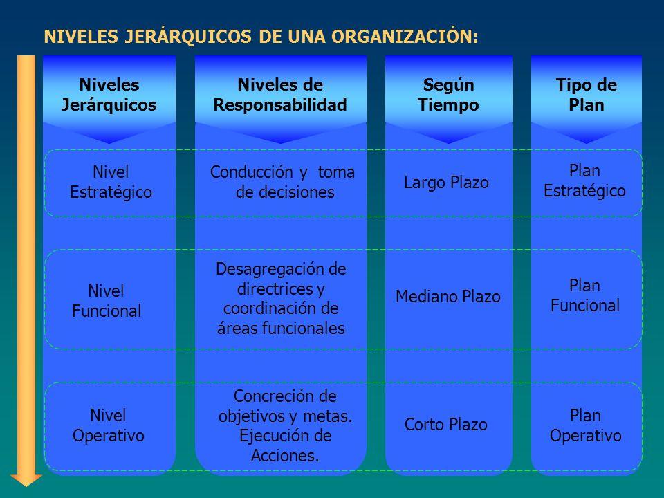 NIVELES JERÁRQUICOS DE UNA ORGANIZACIÓN: Nivel Estratégico Niveles Jerárquicos Nivel Funcional Nivel Operativo Niveles de Responsabilidad Conducción y