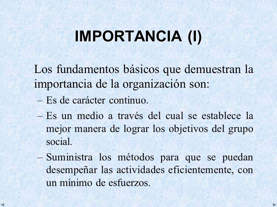 IMPORTANCIA (I) Los fundamentos básicos que demuestran la importancia de la organización son: –Es de carácter continuo. –Es un medio a través del cual
