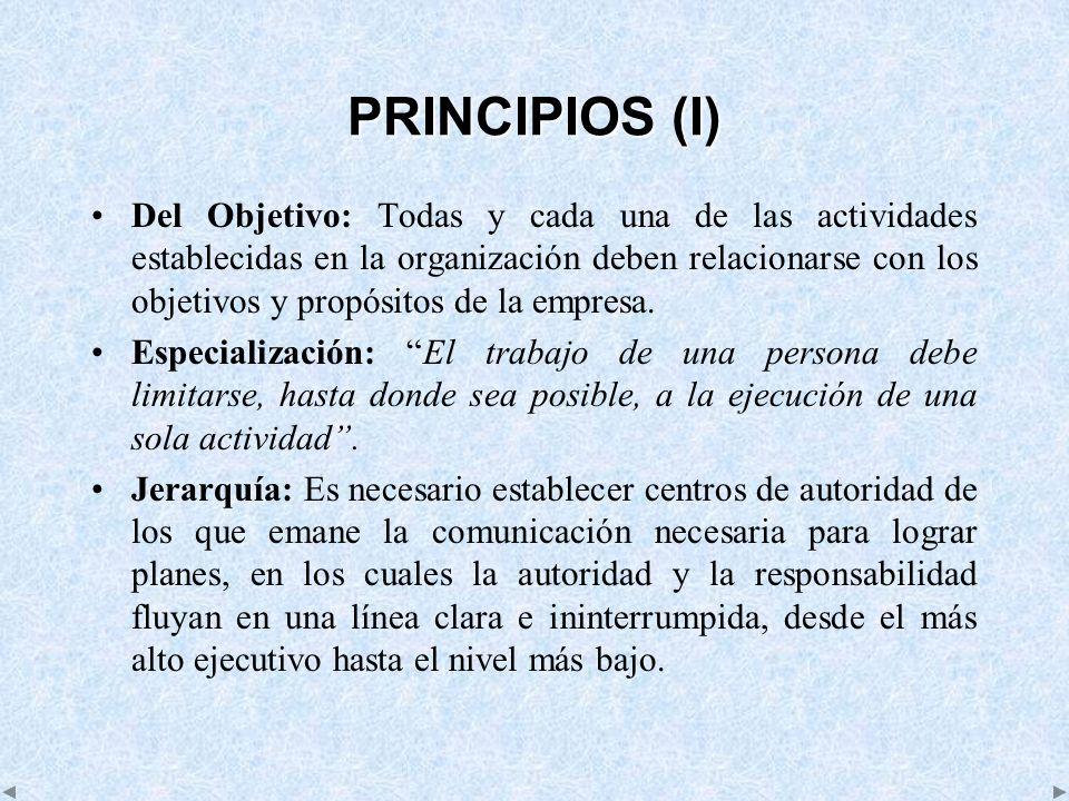 PRINCIPIOS (I) Del Objetivo: Todas y cada una de las actividades establecidas en la organización deben relacionarse con los objetivos y propósitos de